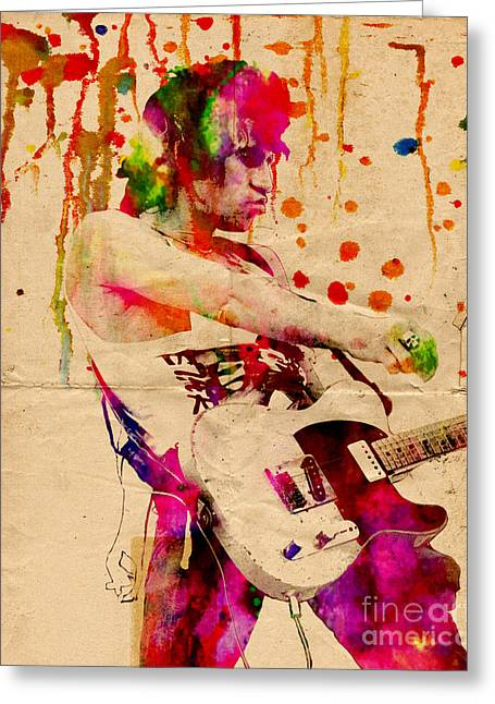 Then Greeting Cards - Keith Richards - The Rolling Stones  Greeting Card by Ryan RockChromatic