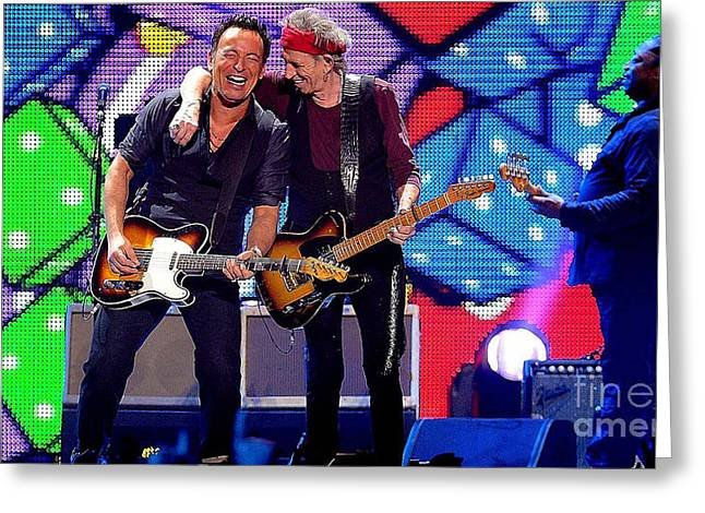 Mick Jagger And Keith Richards Greeting Cards - Keith Richards and Bruce Springsteen Greeting Card by Marvin Blaine