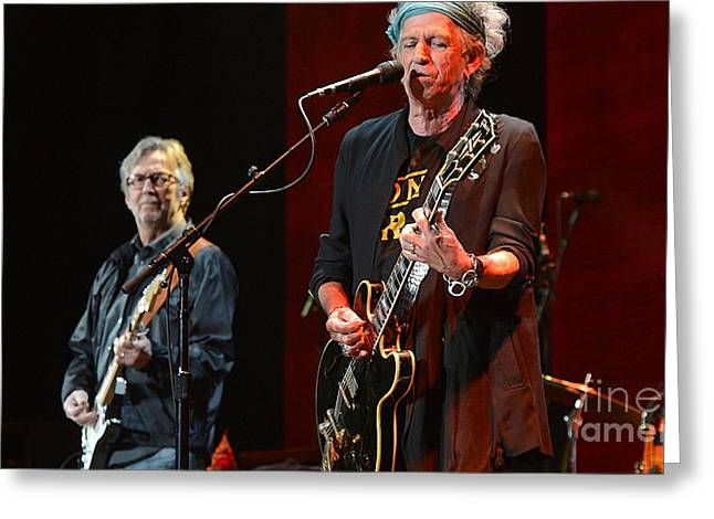Black And White Images Mixed Media Greeting Cards - Keith Richards and Eric Clapton Greeting Card by Marvin Blaine