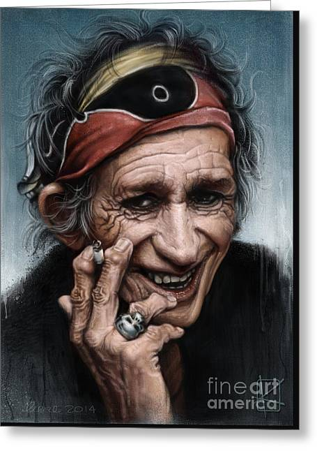 Keith Richards Greeting Card by Andre Koekemoer