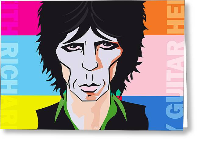 Hockey Heroes Greeting Cards - Keith Richards Guitar Hero Greeting Card by Neil Finnemore