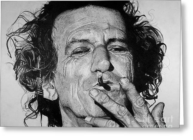 Rocks Drawings Greeting Cards - Keith Richards Greeting Card by Jeff Ridlen
