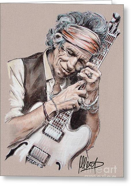Stones Pastels Greeting Cards - Keith Richards Greeting Card by Melanie D