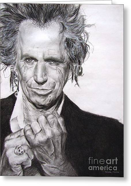 Graphite Pastels Greeting Cards - Keith Richards Greeting Card by Natalia Chaplin