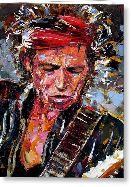 Mick Jagger Paintings Greeting Cards - Keith Richards portrait Greeting Card by Debra Hurd