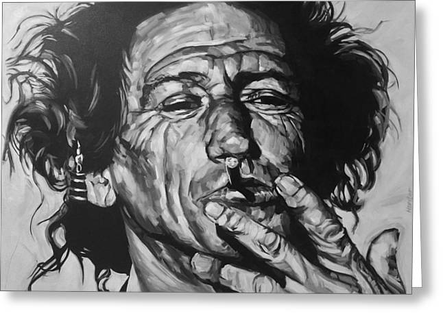 Black Drawings Greeting Cards - Keith Richards Greeting Card by Steve Hunter