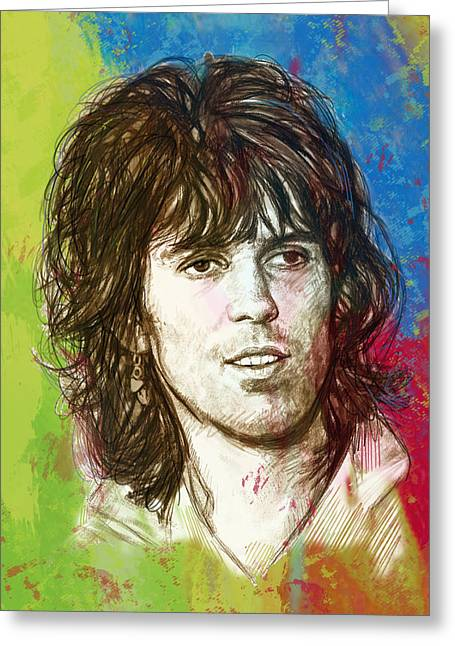 4th Mixed Media Greeting Cards - Keith Richards stylised pop art drawing potrait poster Greeting Card by Kim Wang