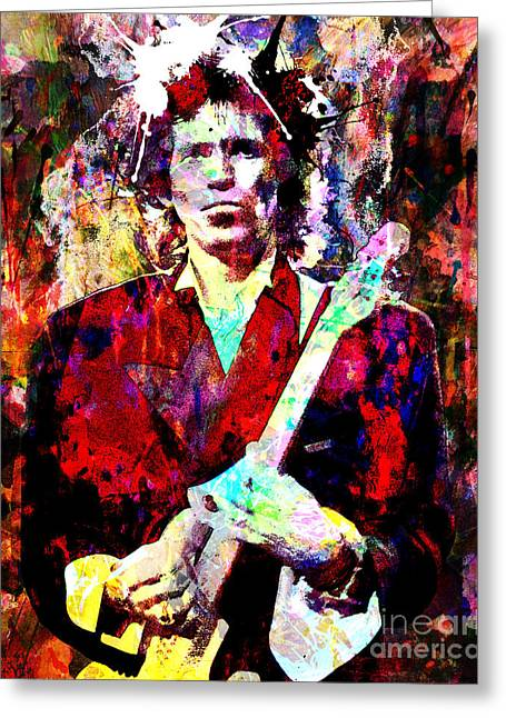 Mix Medium Paintings Greeting Cards - Keith Richards - The Rolling Stones Greeting Card by Ryan RockChromatic