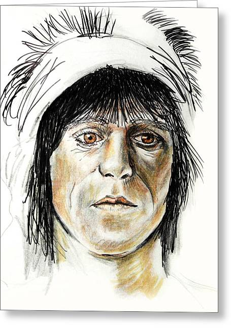 Rocks Drawings Greeting Cards - Keith Richards Greeting Card by Todd Spaur