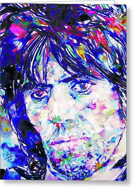 Rolling Stones Greeting Cards - KEITH RICHARDS - watercolor portrait Greeting Card by Fabrizio Cassetta