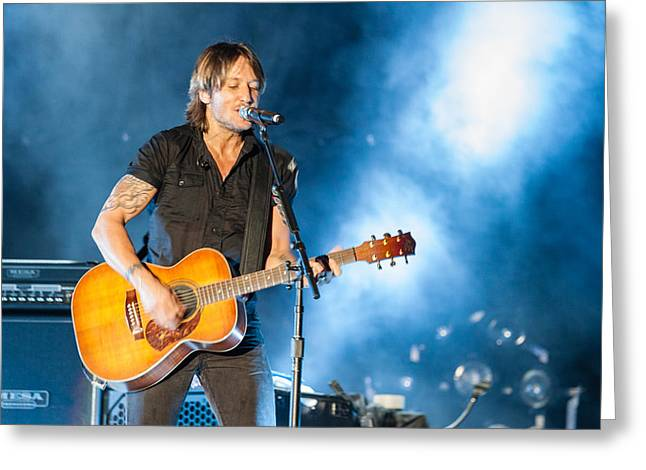 Live Music Greeting Cards - Keith Urban Concert Greeting Card by Mike Burgquist