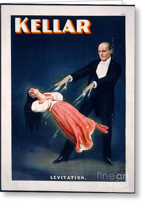 Levitation Photographs Greeting Cards - Kellar Levitation Vintage Magic Poster Greeting Card by Vintage Poster