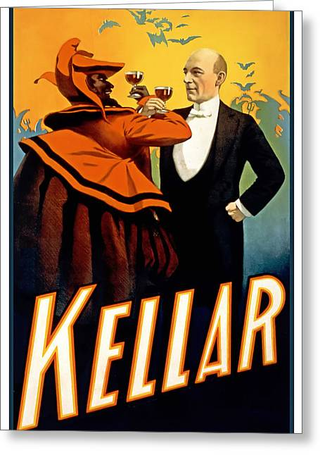 Kellar Toasts The Devil Greeting Card by Terry Reynoldson