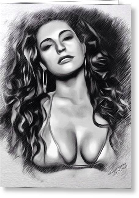 Kelly Digital Art Greeting Cards - Kelly Brook Greeting Card by Scott Wallace
