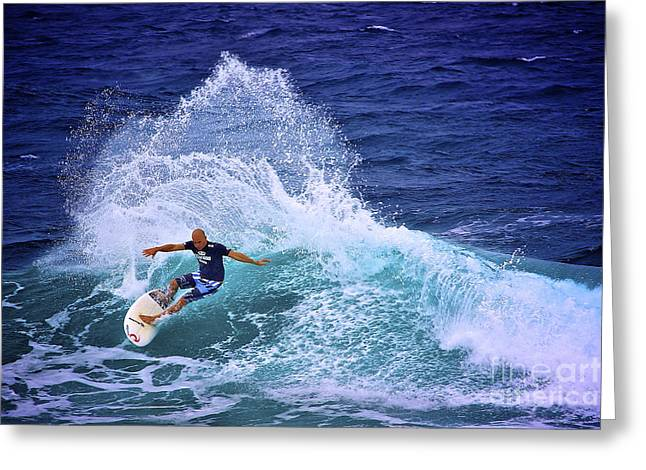 Kelly Slater Greeting Cards - Kelly Slater 1 Greeting Card by Heng Tan