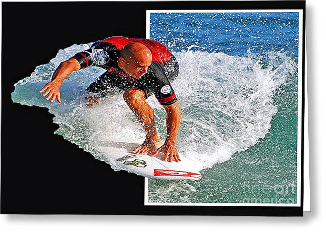 Kelly Slater Greeting Cards - Kelly Slater popping out  Greeting Card by Davids Digits