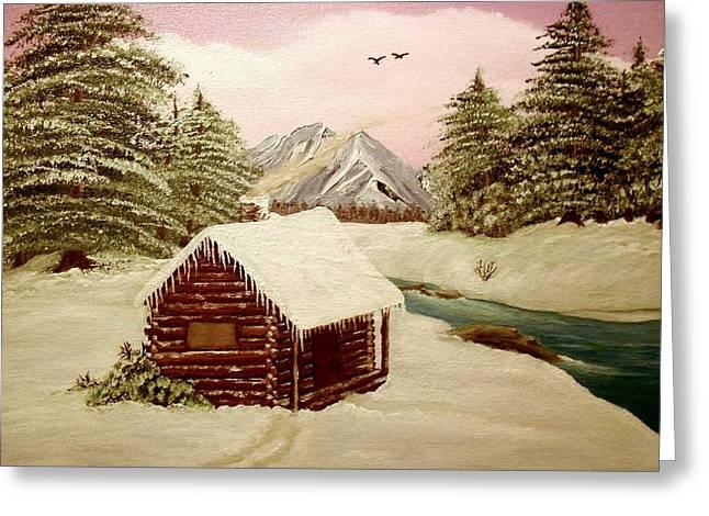 Log Cabins Greeting Cards - Kellys Retreat Greeting Card by Sheri Keith