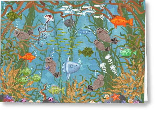 Mola Greeting Cards - Kelp Forest Frolic- The Painting Greeting Card by Merry  Kohn Buvia