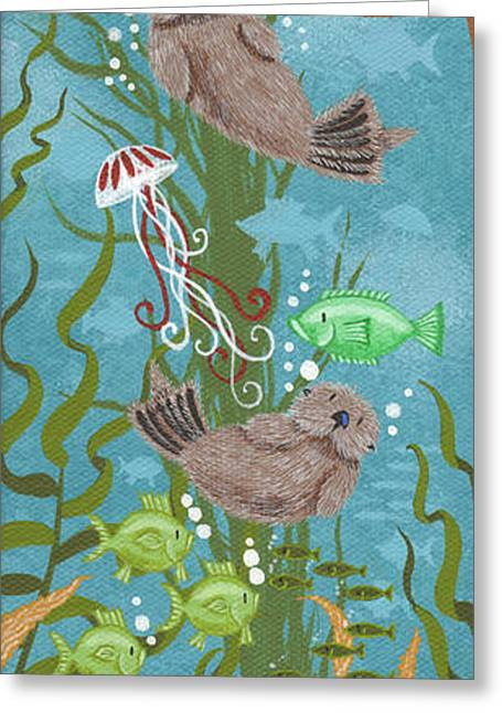 Mola Greeting Cards - Kelp Forest Otters II Greeting Card by Merry  Kohn Buvia