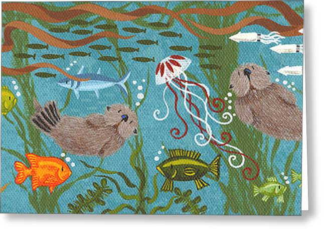 Aquarium Fish Greeting Cards - Kelp Forest Otters III Greeting Card by Merry  Kohn Buvia