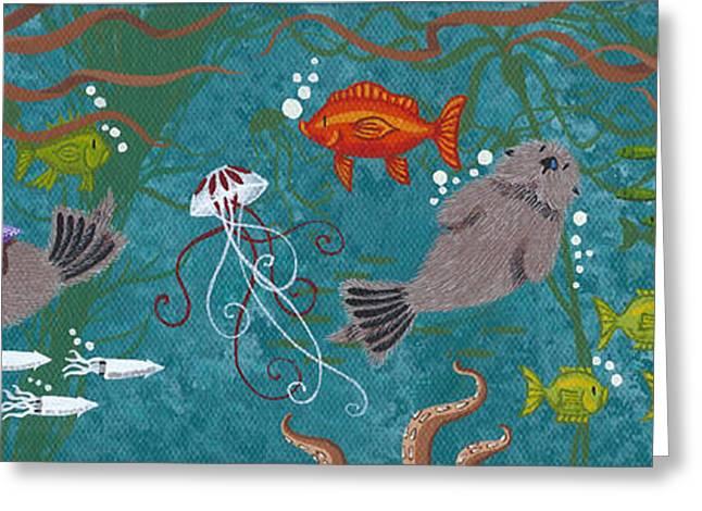 Aquarium Fish Greeting Cards - Kelp Forest Otters IV Greeting Card by Merry  Kohn Buvia