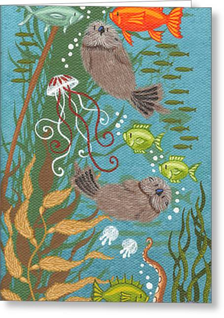 Mola Greeting Cards - Kelp Forest Otters VII Greeting Card by Merry  Kohn Buvia