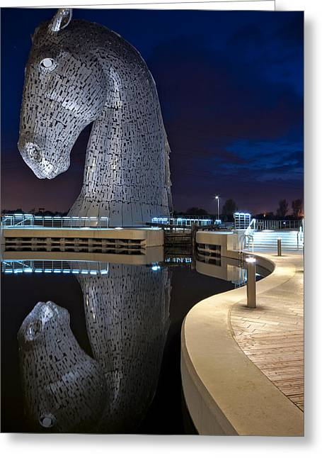 Kelpie Photographs Greeting Cards - Kelpie Reflection Greeting Card by David Peat