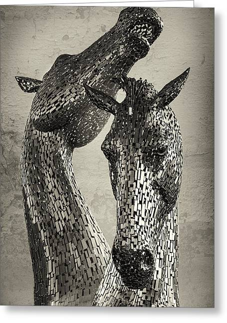 Kelpie Art Greeting Cards - Kelpies - Metal Horses Greeting Card by Krzysztof Hanusiak