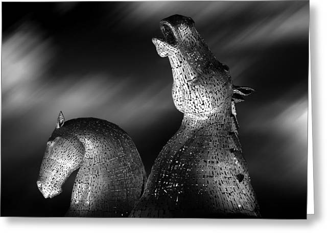 Kelpie Art Greeting Cards - Kelpies Greeting Card by Les McLuckie
