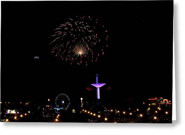 Pyrotechnics Greeting Cards - Kemah Boardwalk - Fourth of July Greeting Card by Judy Vincent