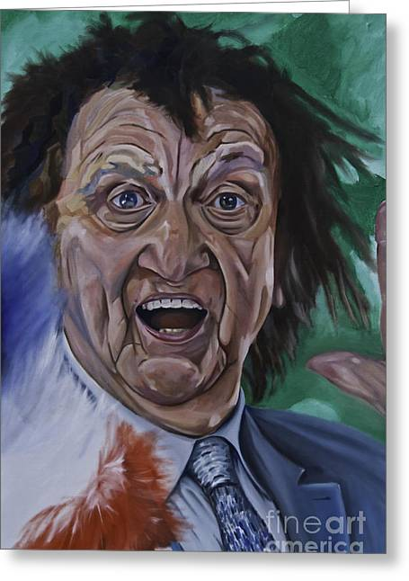 Liverpudlian Greeting Cards - Ken Dodd Greeting Card by James Lavott