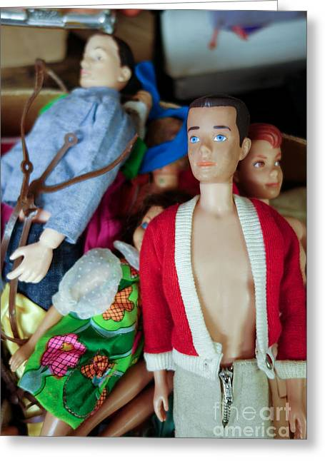Hand Greeting Cards - Ken doll amidst other vintage Barbie dolls Greeting Card by Amy Cicconi