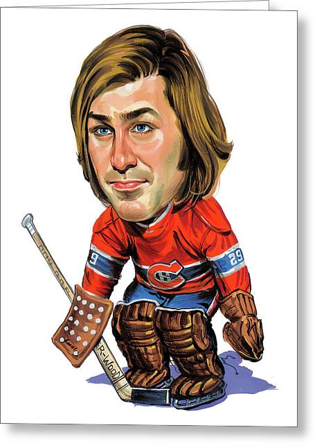 Hockey Art Paintings Greeting Cards - Ken Dryden Greeting Card by Art