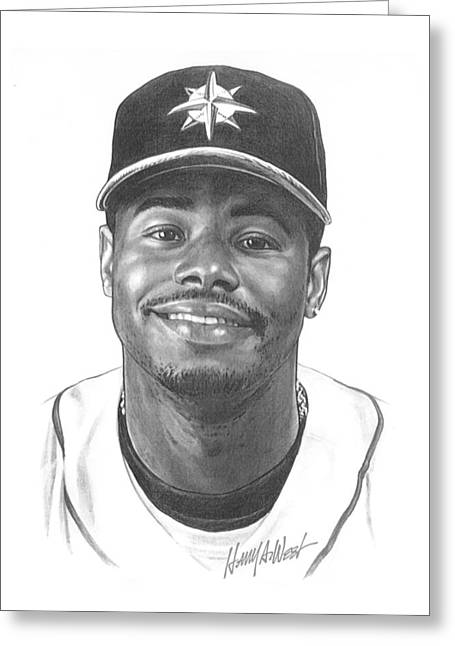Red Sox Drawings Greeting Cards - Ken Griffey Jr Greeting Card by Harry West