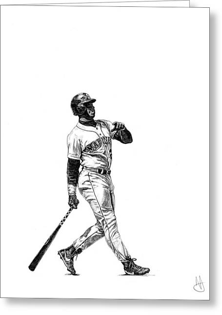 Ken Griffey Jr. Greeting Card by Joshua Sooter
