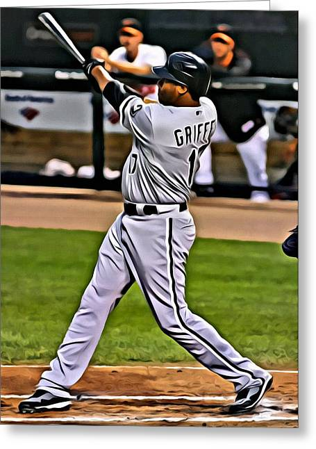 Red Sox Vintage Poster Greeting Cards - Ken Griffey Jr Painting Greeting Card by Florian Rodarte