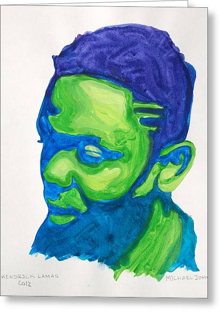 Black Man Paintings Greeting Cards - Kendrick Lamar Greeting Card by Michael Ringwalt