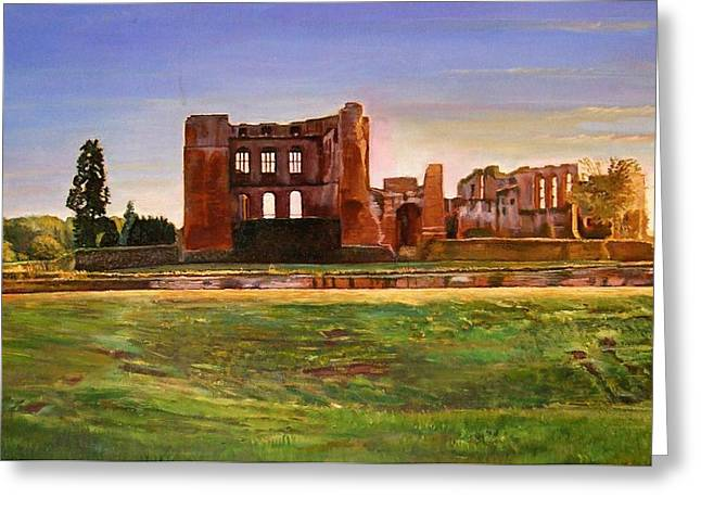 Warwickshire Greeting Cards - Kenilworth Castle Grandeur, 2008 Oil On Canvas Greeting Card by Kevin Parrish