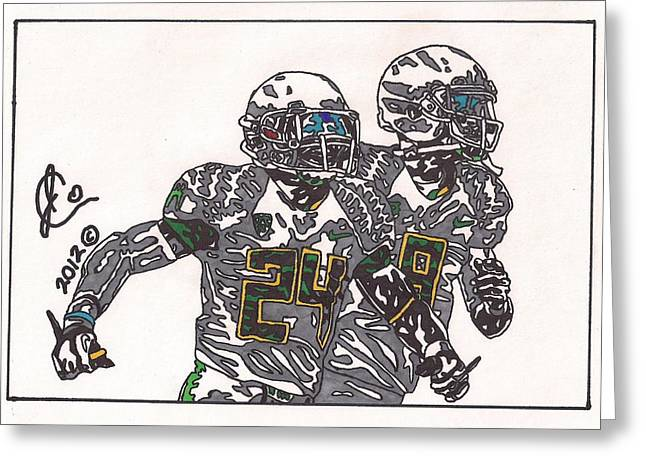 Ncaa Drawings Greeting Cards - Kenjon Barner and Marcus Mariota Greeting Card by Jeremiah Colley
