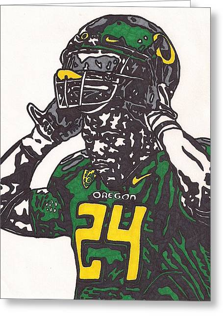 Ncaa Drawings Greeting Cards - Kenjon Barner Greeting Card by Jeremiah Colley