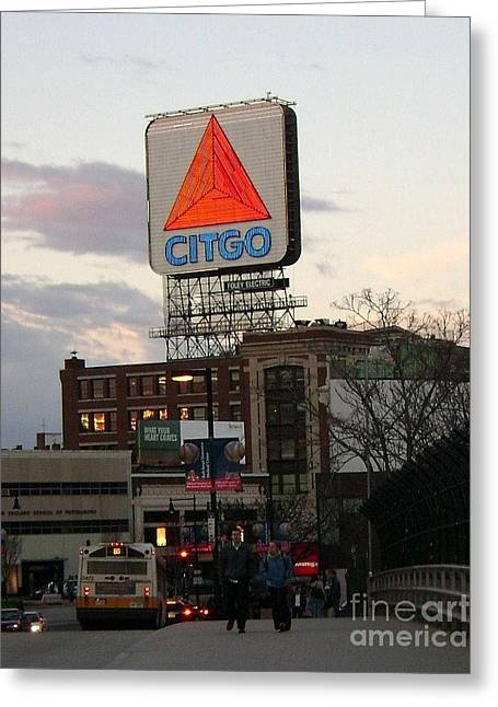 Fenway Park Photo Greeting Cards - Kenmore Square - Boston Greeting Card by Adrienne G