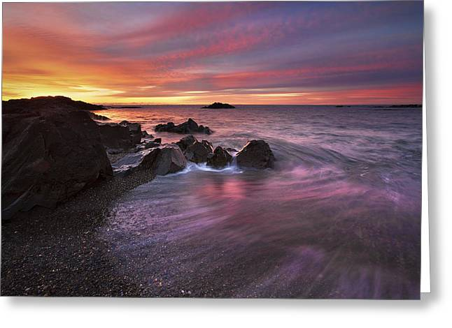 Maine Shore Greeting Cards - Kennebunk Sunrise Greeting Card by Eric Gendron