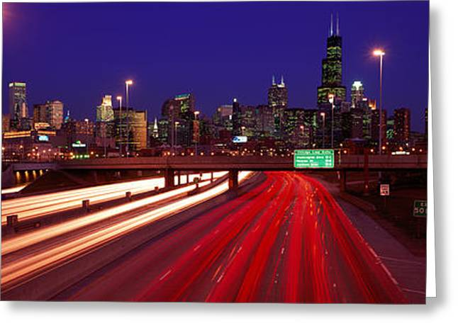 Hurry Greeting Cards - Kennedy Expressway Chicago Il Usa Greeting Card by Panoramic Images