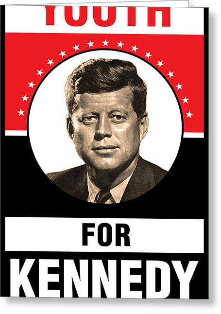Decorative Greeting Cards - Kennedy Political Poster Greeting Card by Gary Grayson