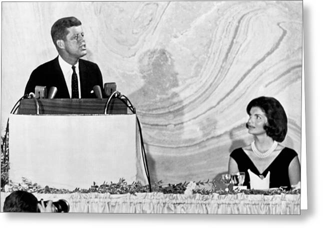 Kennedy Speaks At Fundraiser Greeting Card by Underwood Archives