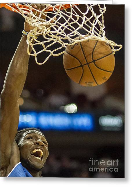Basketballs Greeting Cards - Kenneth Faried Dunk Portrait Greeting Card by Richard Yee