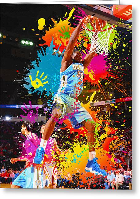 Minnesota Timberwolves Digital Greeting Cards - Kenneth Faried  of the Denver Nuggets dunks Greeting Card by Don Kuing