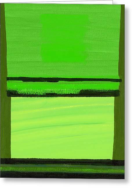 Abstract Expressionist Greeting Cards - Kensington Gardens Series Green On Green Oil On Canvas Greeting Card by Izabella Godlewska de Aranda
