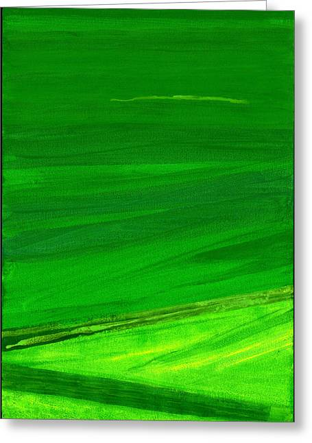 Abstract Expressionist Greeting Cards - Kensington Gardens Series My World Of Green 4 Oil On Canvas Greeting Card by Izabella Godlewska de Aranda