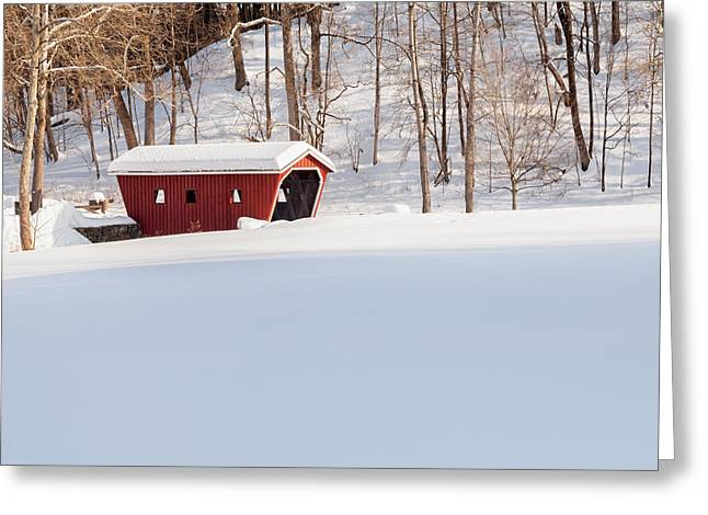 Snow-covered Landscape Greeting Cards - Kent Falls Covered Bridge Square Greeting Card by Bill  Wakeley